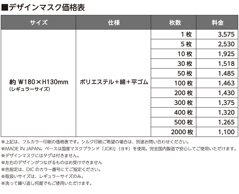 デザインマスク 価格表